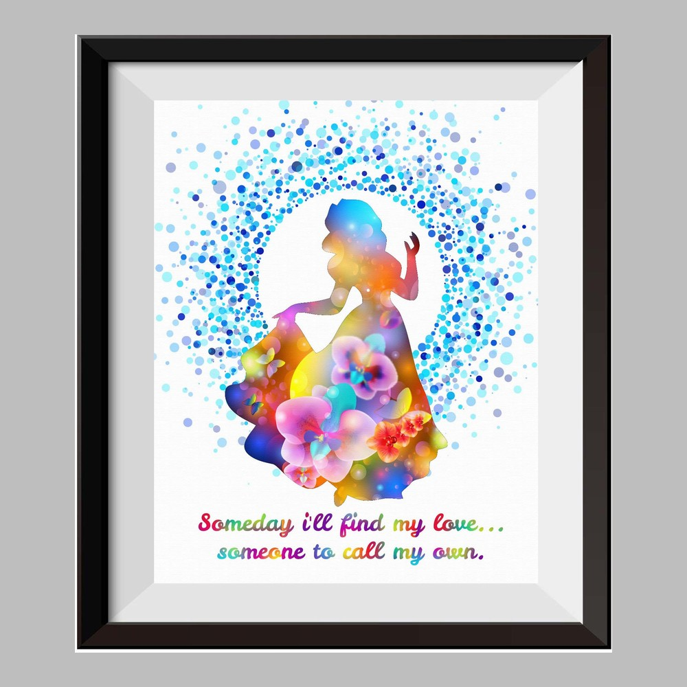 Princess Snow White Once Upon A Time Watercolor Print Nursery Decor  Inspirational Quotes C076