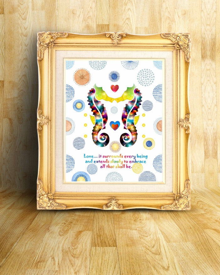 The Seahorses Seahorse Decor Watercolor Print Inspirational Quotes ...