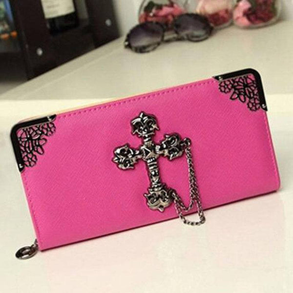BoneChiller Cross Design Women Wallet Special-Hot-Pink