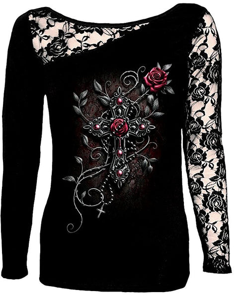 DISCARDED ANGEL BEADS LONG SLEEVE LACE SHIRT