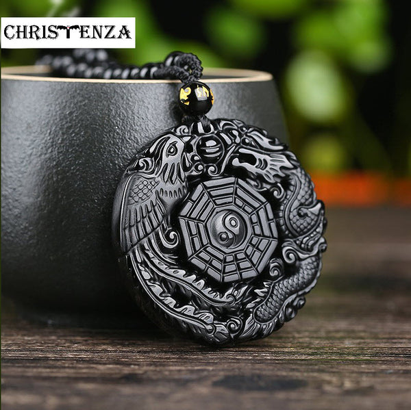 Ancient Twin Dragons Natural Black Obsidian Necklace