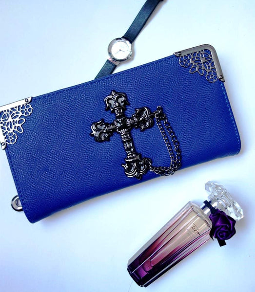 BoneChiller Cross Design Women Wallet Special-Blue
