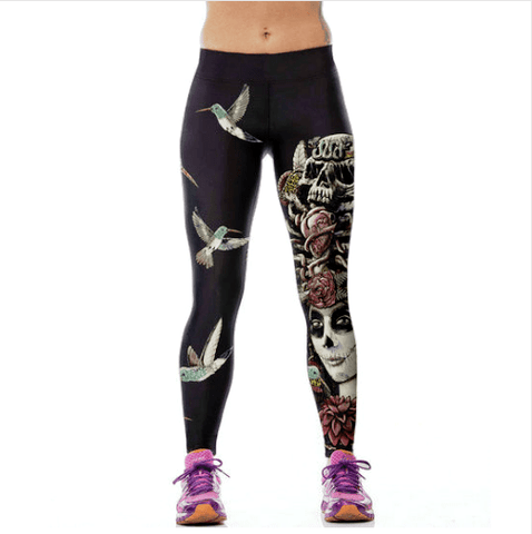 Humming Bird Hovering Zombie Skull Leggings