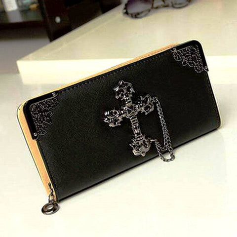 BoneChiller Cross Design Women Wallet Special-Black-01