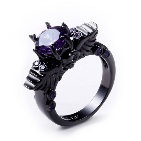 """Winged"" 14K Black Gold Skull Ring With Purple Amethyst Stone"