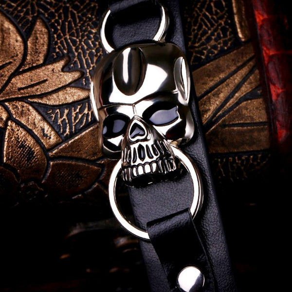 Black Leather Skull Cuff Bracelet