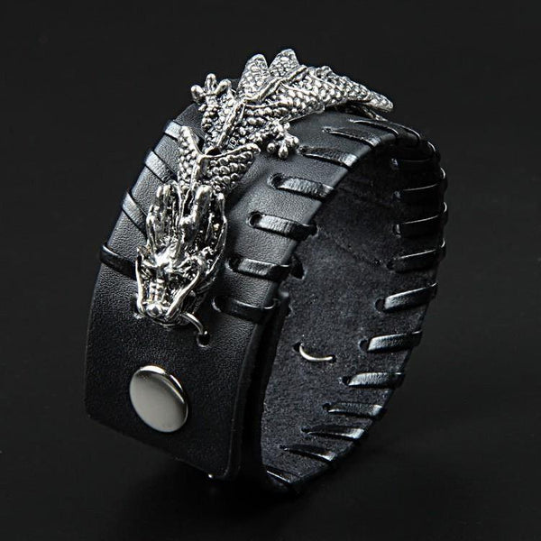 Braided Cuff Dragon Leather Bracelet