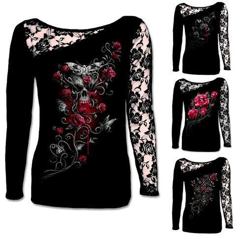 STUNNING DARK ART LONG SLEEVE LACE SHIRT