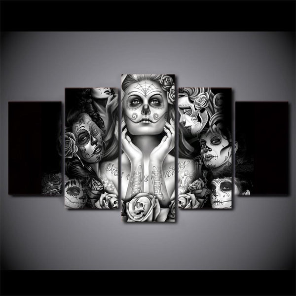 Day Of The Dead Abstract 5 Panel Canvas Art Piece