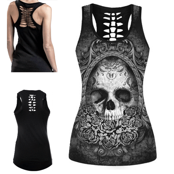 Death Reflection Skull 3D print tank Top