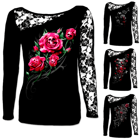 DEATH ROSE LONG SLEEVE LACE SHIRT