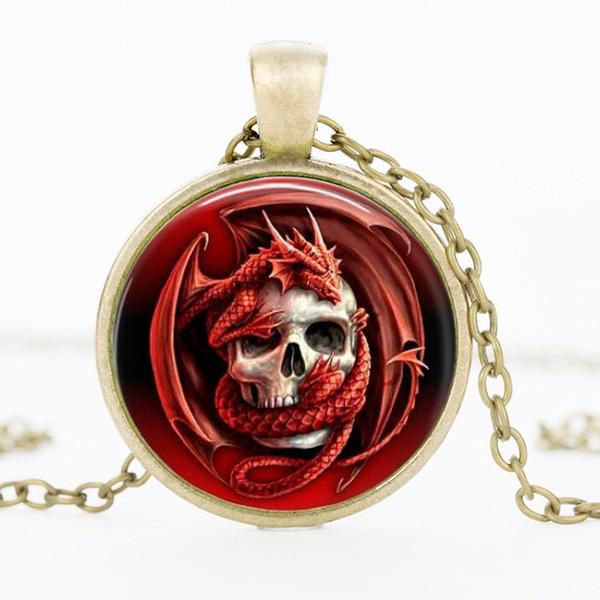 Evil Skull Dragon Necklace