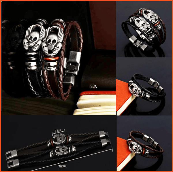 FLYING SKULL LEATHER BRACELET