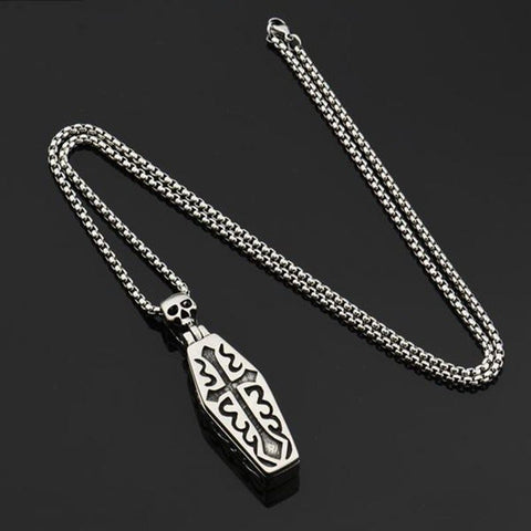 Gothic Stainless Steel Skull Coffin Necklace