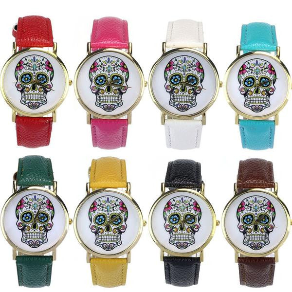 Hot-fashion-Sugar-Flower-Skull-Wrist-Watch-Various