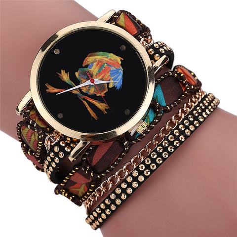 Luxury Vogue Rhinestone Skull Quartz Watch Brown