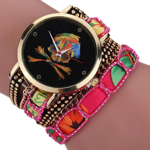 Luxury Vogue Rhinestone Skull Quartz Watch Pink