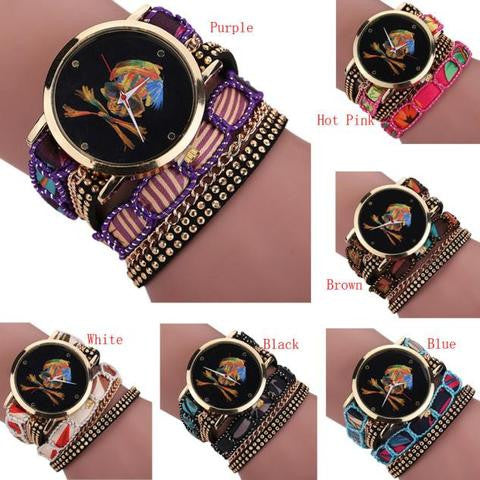 Luxury Vogue Rhinestone Skull Quartz Watch Various Legends