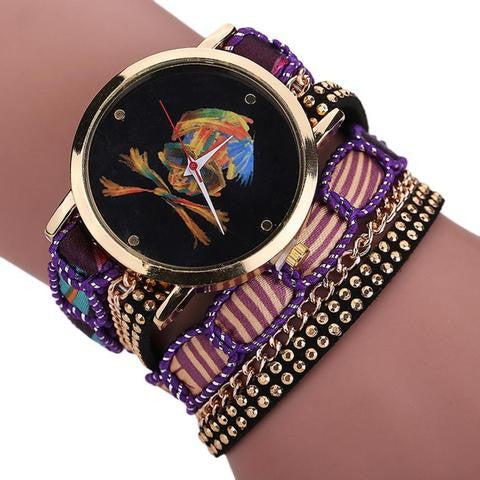 Luxury Vogue Rhinestone Skull Quartz Watch Purple
