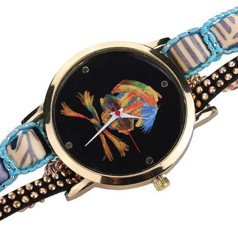Luxury Vogue Rhinestone Skull Quartz Watch Flat