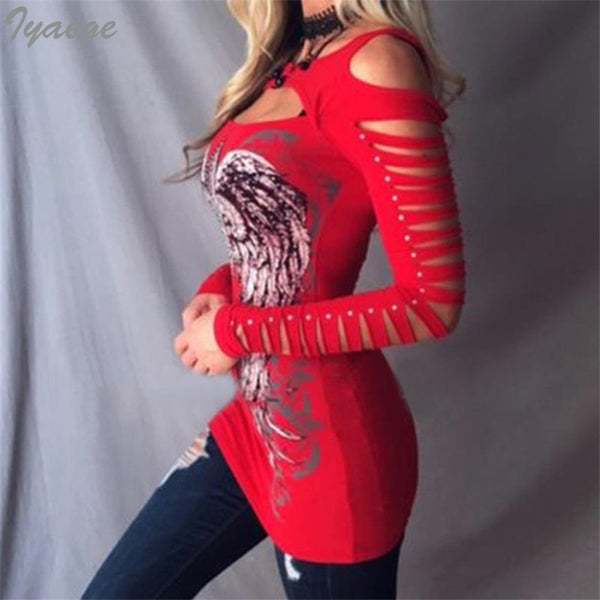 Outrageous Skull Hollow Cut Long Sleeve Shirt