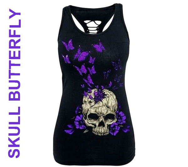 SKULLTURED CUT-OUT TANK TOP