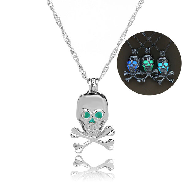 Pirate Skull Glow In The Dark Necklace
