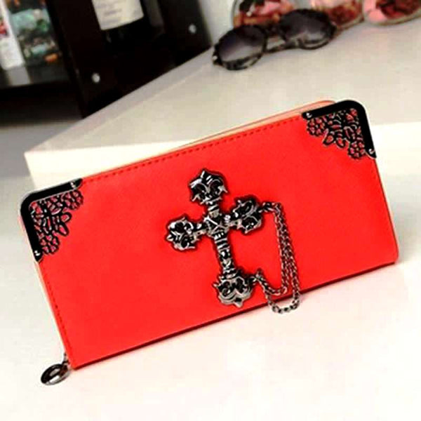 BoneChiller Cross Design Women Wallet Special-Red