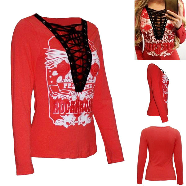 ROCKIT LACE V-NECK TOP