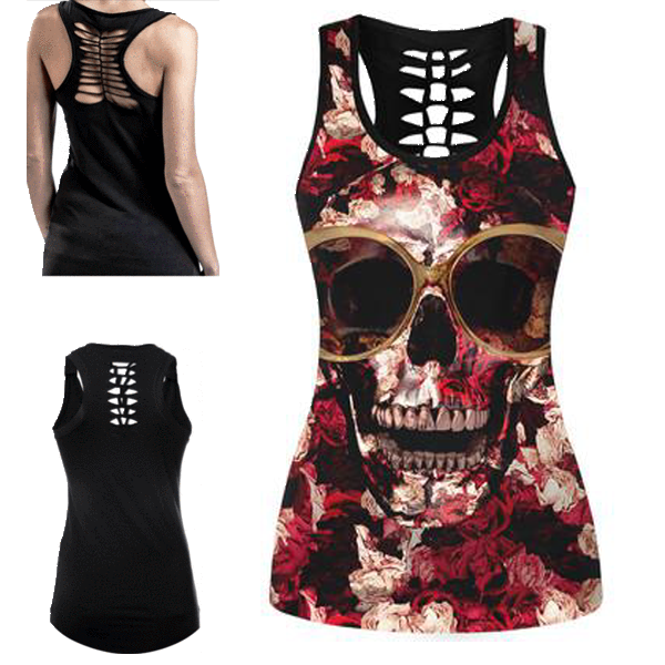 Retro Fit Skull 3D Print Tank Top
