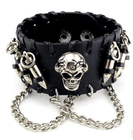 Skull & Bullets Leather Bracelet Special - Christenza - 02