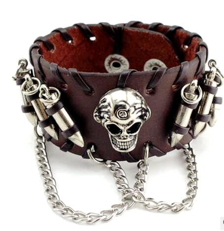 Skull & Bullets Leather Bracelet Special - Christenza - 03