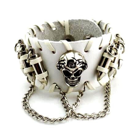 Skull & Bullets Leather Bracelet Special - Christenza - 04