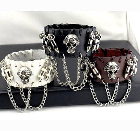 SKULL & BULLETS LEATHER BRACELET