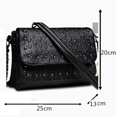 SKULL EMBOSSED WOMEN SHOULDER BAG