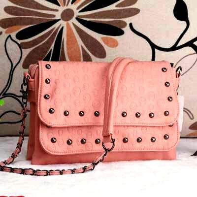 SKULL EMBOSSED WOMEN SHOULDER BAG-PINK