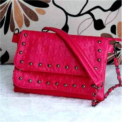 SKULL EMBOSSED WOMEN SHOULDER BAG-ROSE_RED