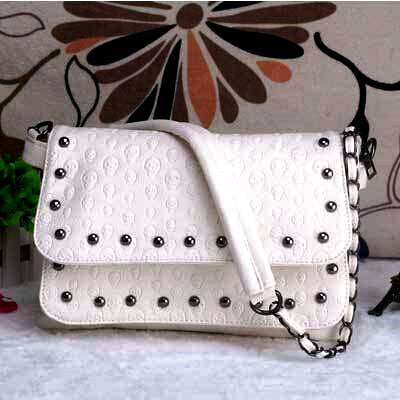 SKULL EMBOSSED WOMEN SHOULDER BAG-WHITE