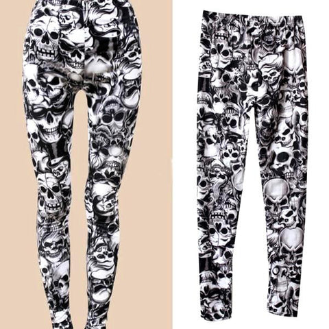Skull Print Pattern Skinny Slim Fit Leggings