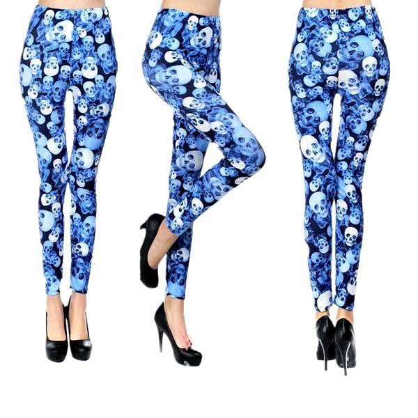 Skull Printing Milk Silk Leggings