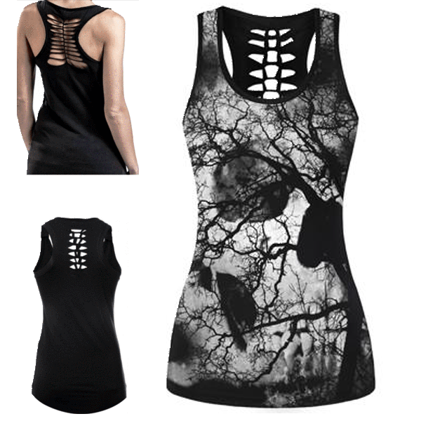 Skull Tree Illusion 3D Print Tank Top