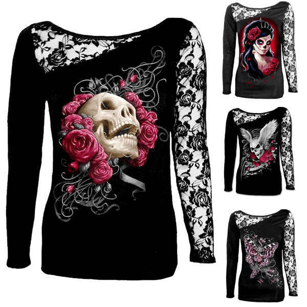 Sexy Long Sleeve Skull Designs Lace Patchwork Shirt