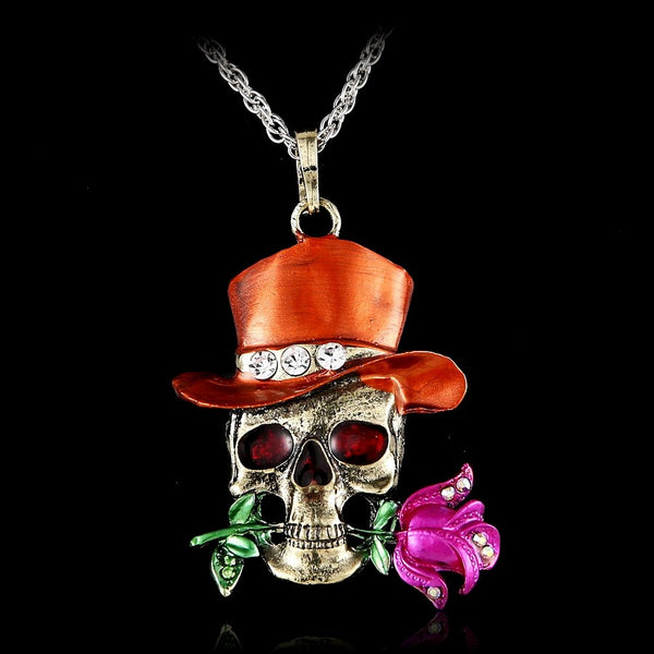 Skull & Rose Swag Pendant Necklace