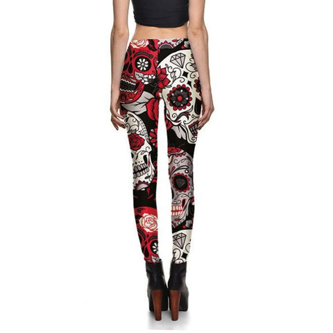 Sugar Skull Leggings Red Rose