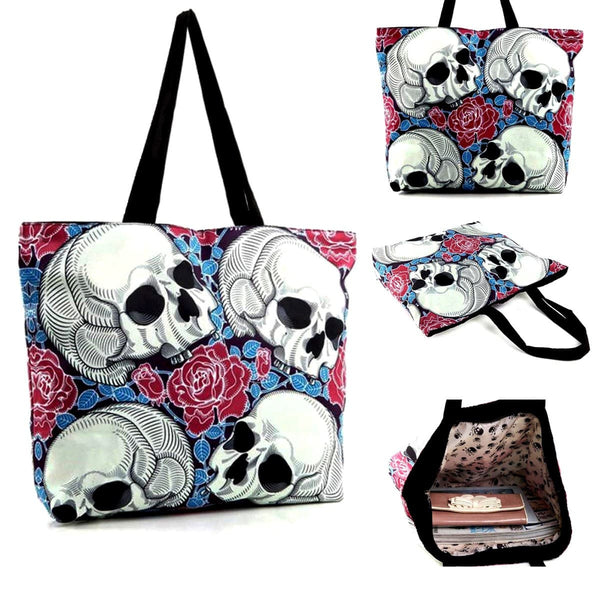 CAPTIVATING SKULLS & ROSES PRINT TOTE BAG