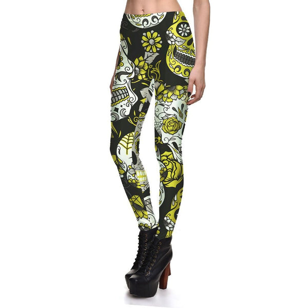 Sugar Skull Leggings Yellow