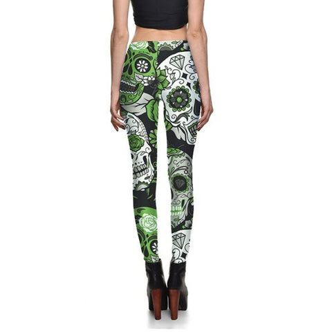 Sugar Skull Leggings Green