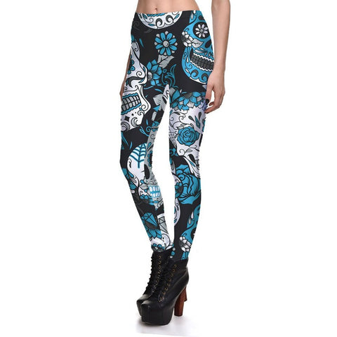 Sugar Skull Leggings Blue