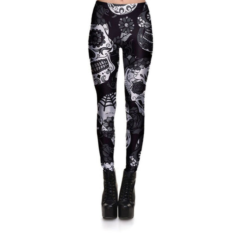 Sugar Skull Leggings Gray