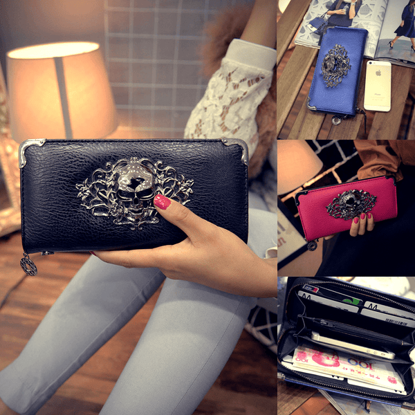 Metal Skull Pattern Portable Women Wallet